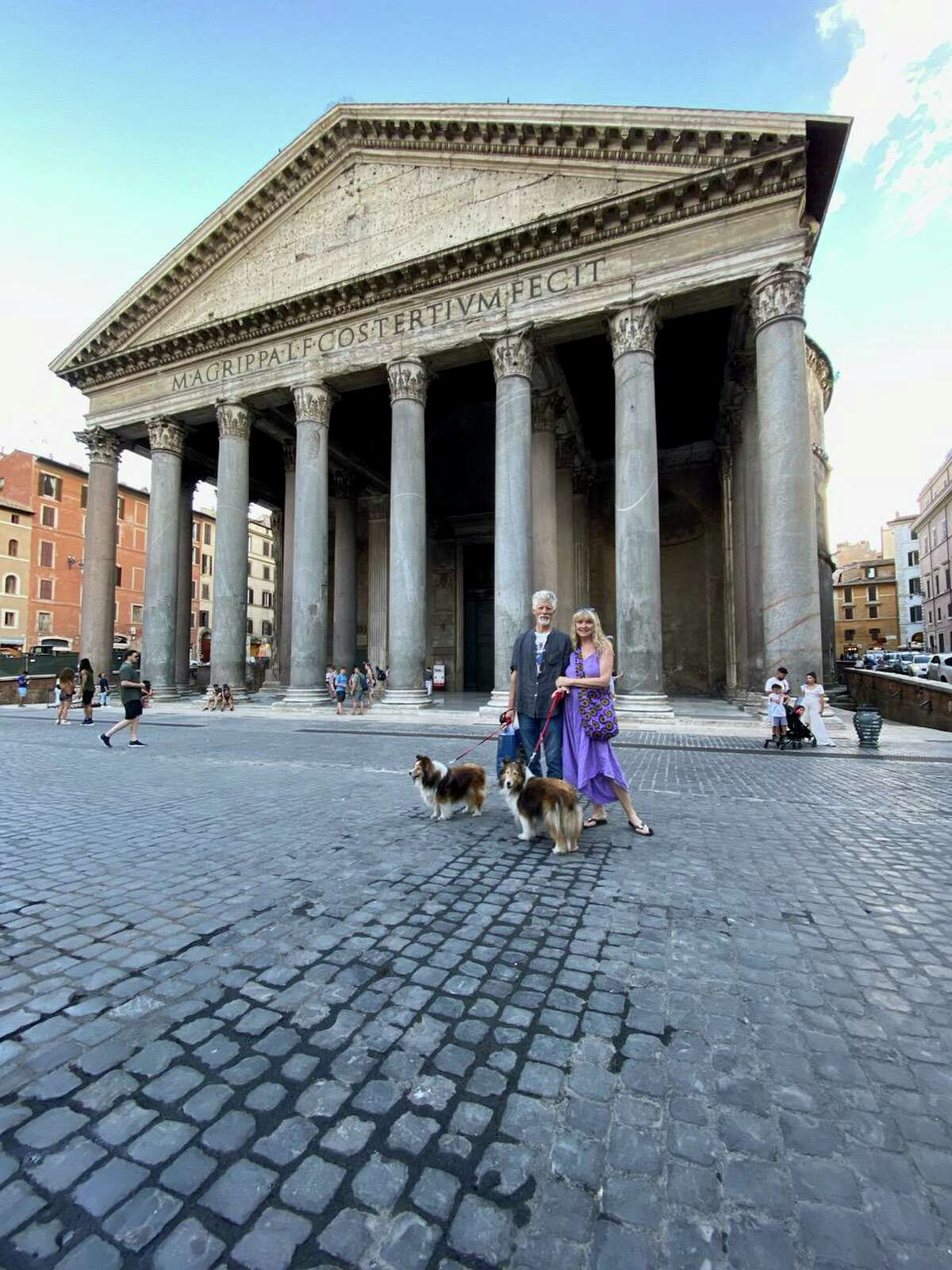 Connecticut Academy for the Arts in Torrington has received a grant to provide Italian studies to local students. The directors, John and Teresa Sullivan, traveled to Italy recently to visit the Centro Linguistico Italiano Dante Alighieri, in Rome. They are pictured with their dogs at the Pantheon.