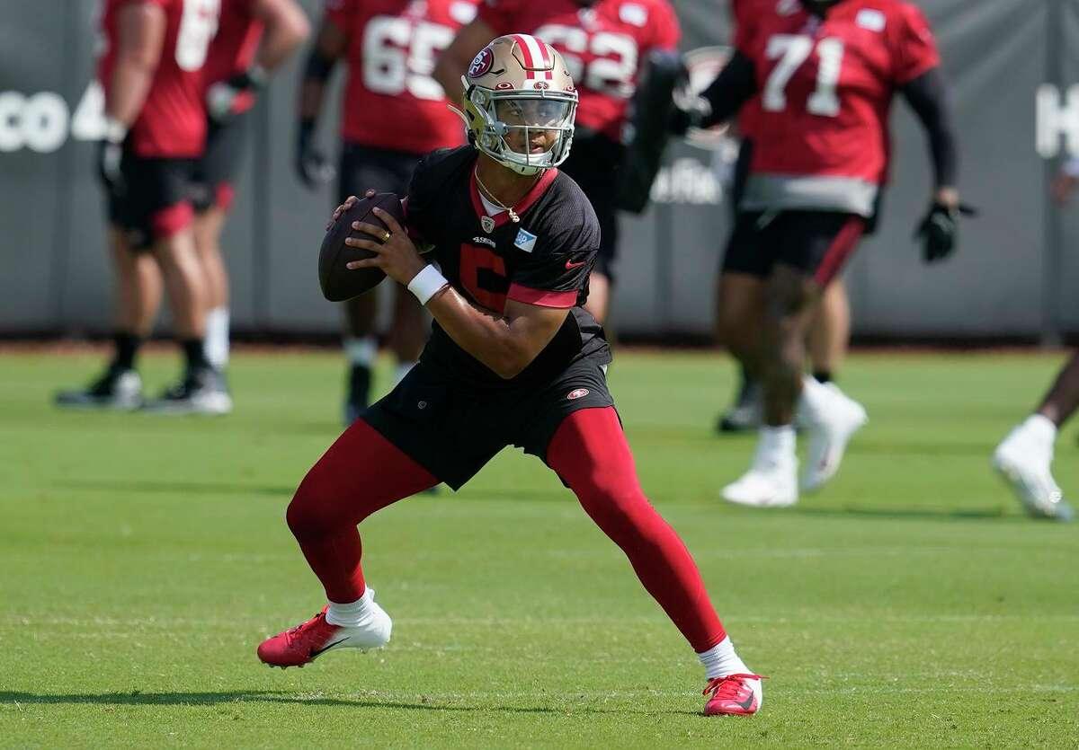 49ers quarterback Trey Lance at NFL football training camp in Santa Clara, Calif., Thursday, July 29, 2021. (AP Photo/Jeff Chiu)