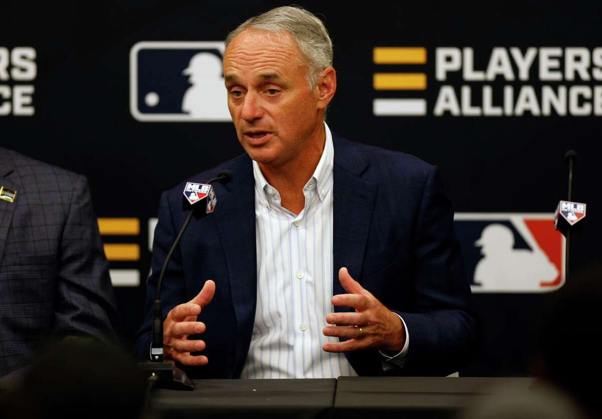 DENVER, COLORADO - JULY 12: Commissioner of Baseball Robert D. Manfred Jr. speaks during a press conference announcing a partnership with the Players Alliance during the Gatorade All-Star Workout Day at Coors Field on July 12, 2021 in Denver, Colorado. (Photo by Justin Edmonds/Getty Images)