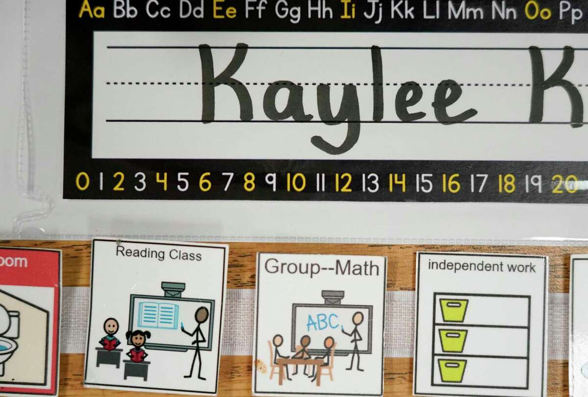 A display on a desk is shown in the classroom of Dornethia Dixon, a special education teacher, at Reynolds Elementary School, 3975 Gladeridge Dr., Monday, Aug. 9, 2021 in Houston. Spring ISD students start classes on Aug. 11.