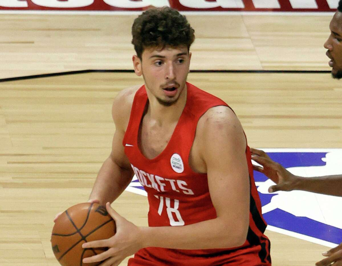 Rookie Alperen Sengun paired 15 points with 15 rebounds in his first summer league game with the Rockets.