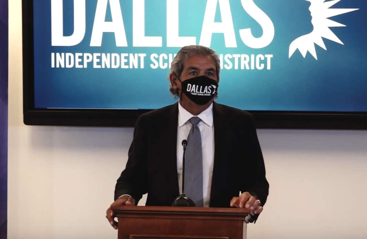In this image from a video uploaded by Dallas ISD, superintendent Michael Hinojosa speaks at a Aug. 9 press conference to announce a district-wide mask mandate effective Tuesday Aug. 10, defying Gov. Greg Abbott's ban on such mandates.