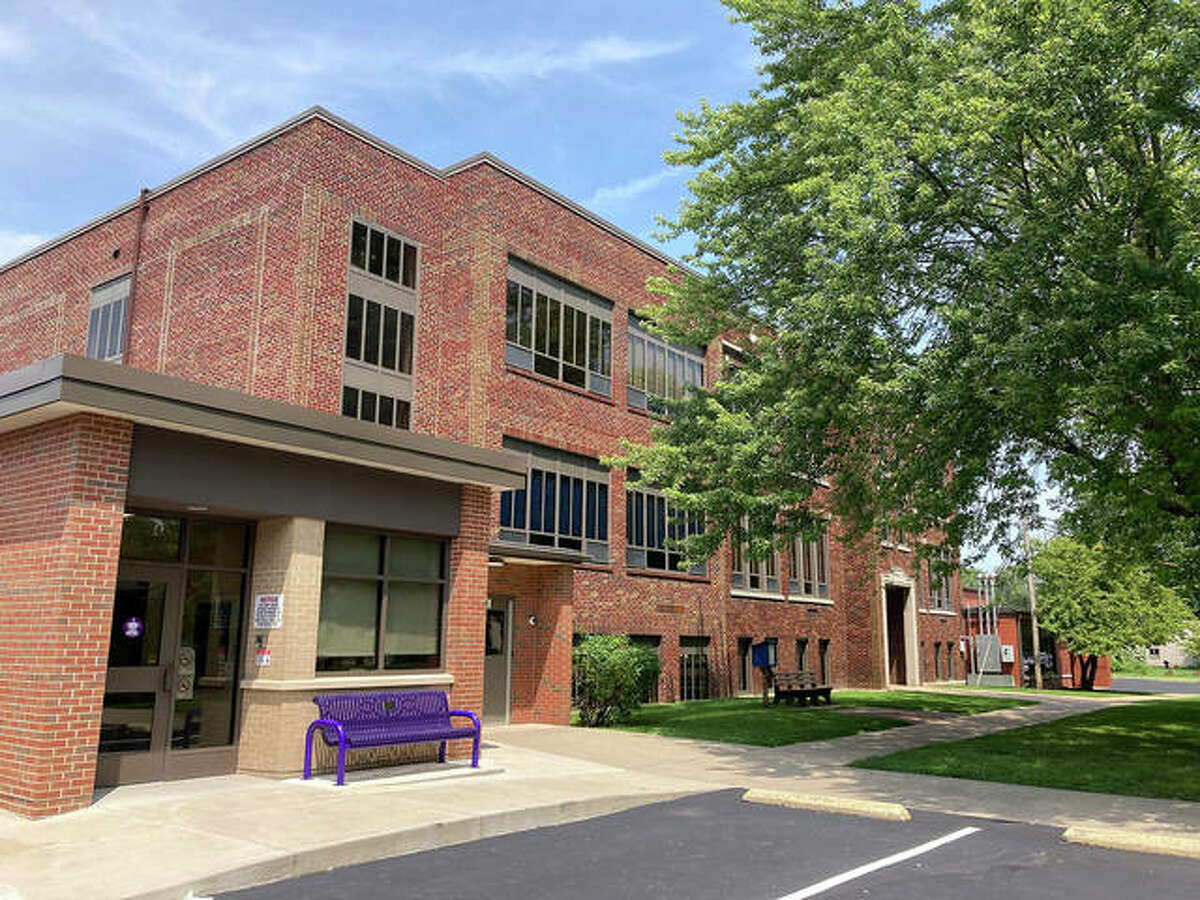 This view shows the school's current main entrance. A new elementary school is planned for the same site by spring 2024.