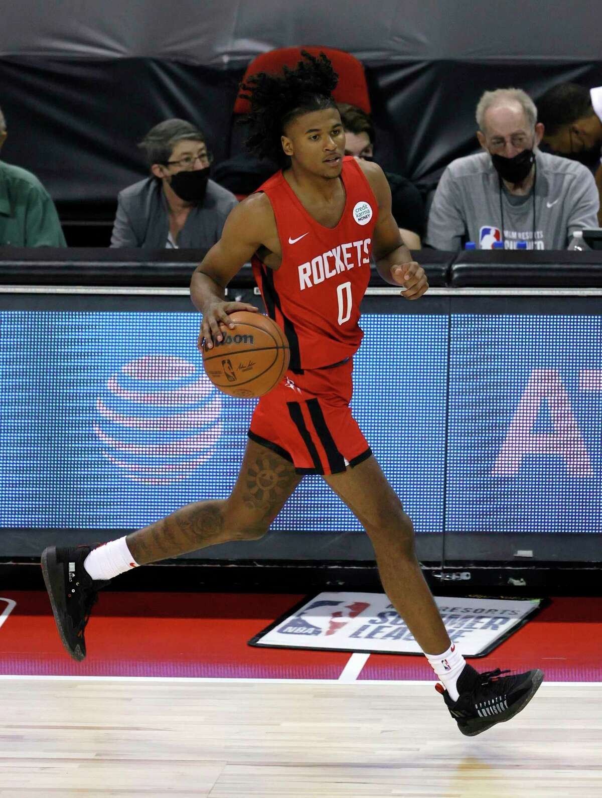 Jalen Green brings the ball up the court for the Rockets against the Cavaliers during a Summer League game at the Thomas & Mack Center on Sunday, Aug. 8, 2021 in Las Vegas, Nevada.