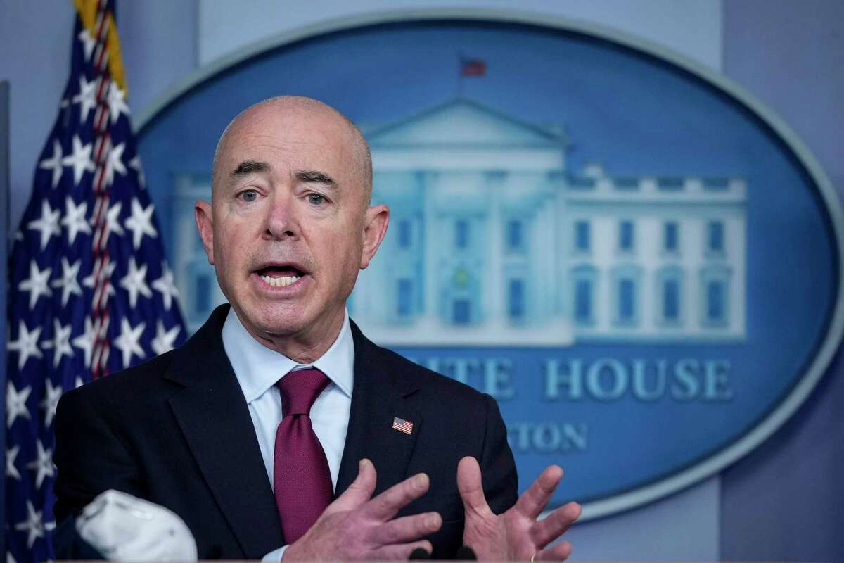 Secretary of Homeland Security Alejandro Mayorkas during a press briefing at the White House on March 1, 2021, in Washington, D.C. (Drew Angerer/Getty Images/TNS)