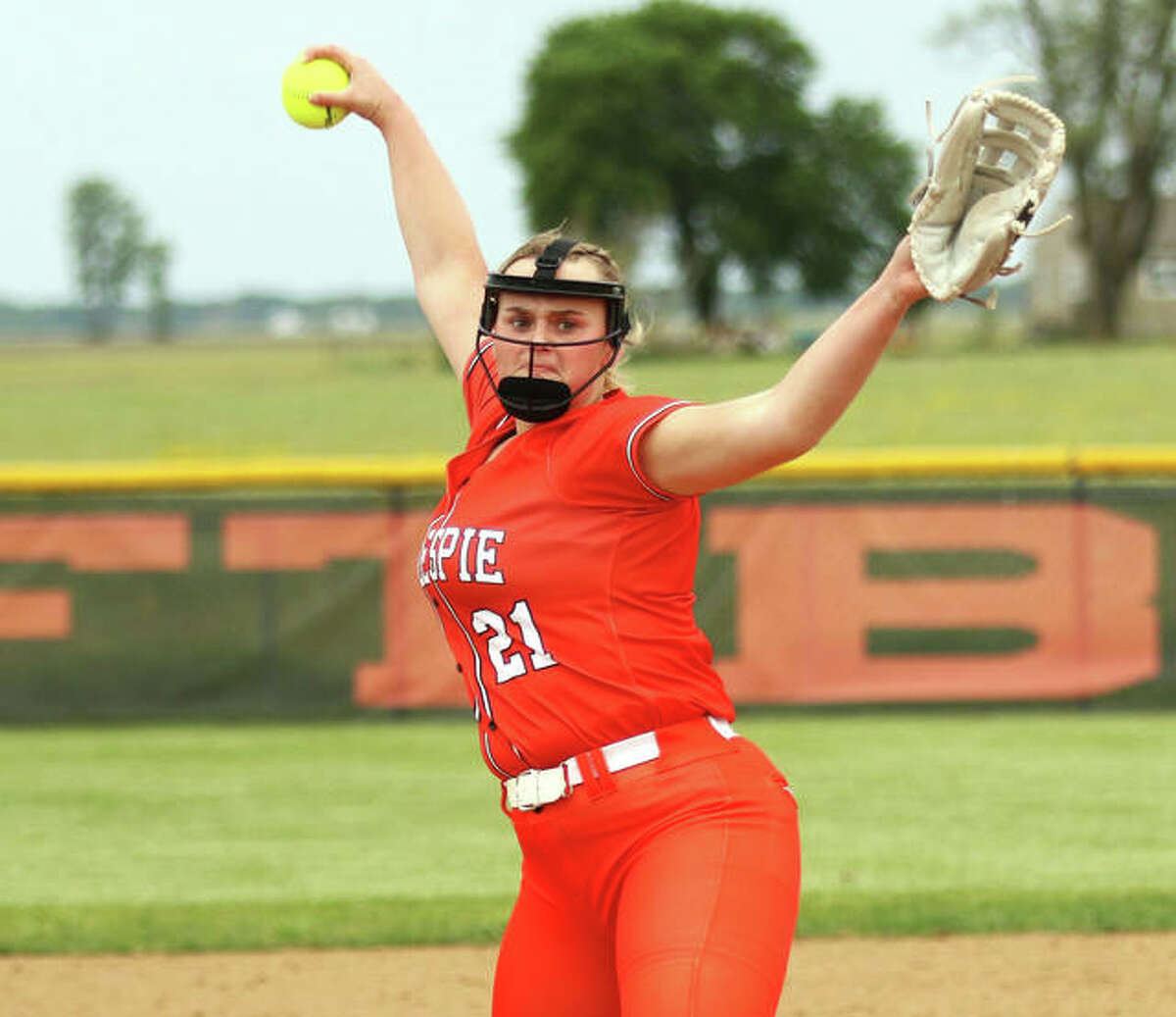 Gillespie senior Sydney Bires delivers a pitch during a game against Highland at BenGil Elementary School on May 11 in Gillespie. Bires is the 2021 Telegraph Small-Schools Softball Player of the Year.
