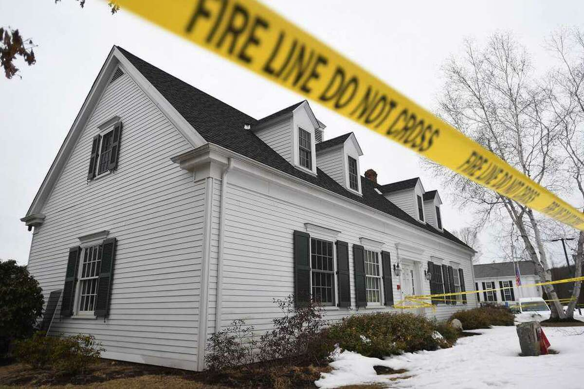 Caution tape surrounds the Roxbury Ambulance building at 27 North St. in Roxbury, Conn., taken on Sunday, Feb. 28, 2021. Richard White, of Torrington, was charged in connection with this blaze and several others in the area.