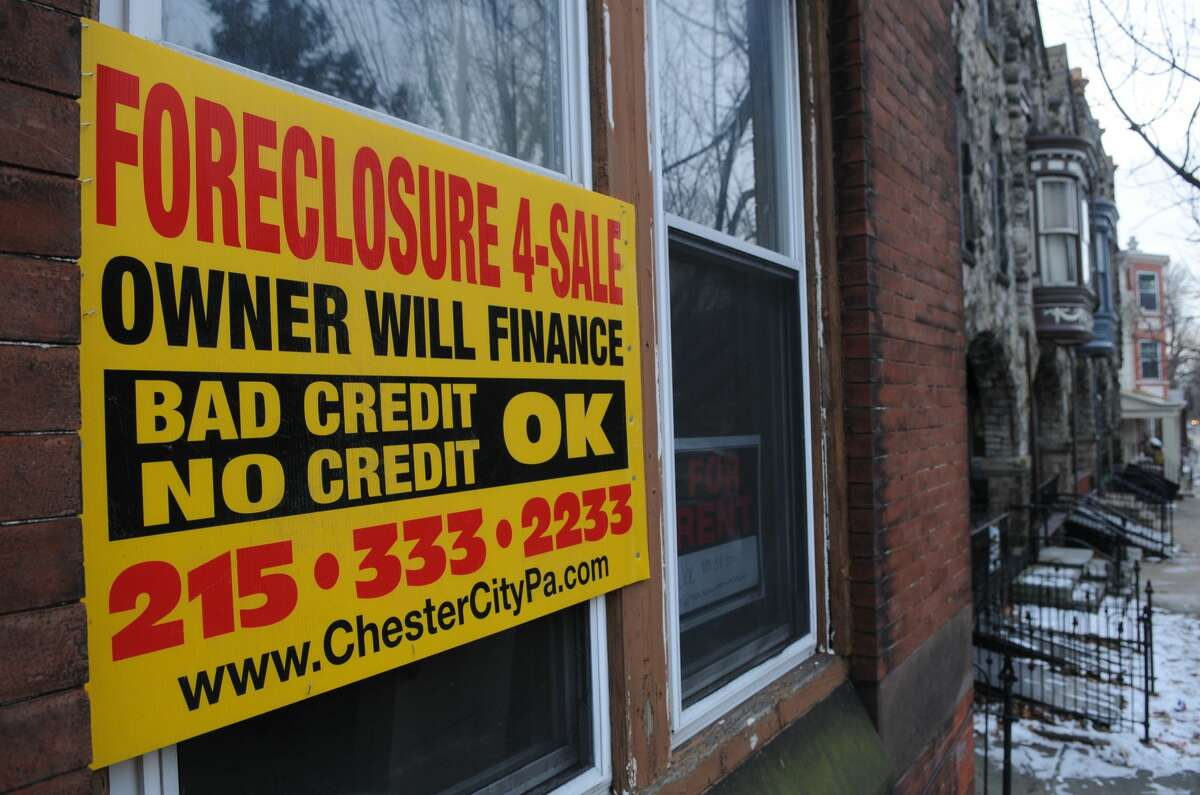 FILE - Foreclosure sign on Perkiomen Avenue in Reading. (Photo By Jeremy Drey/MediaNews Group/Reading Eagle via Getty Images)