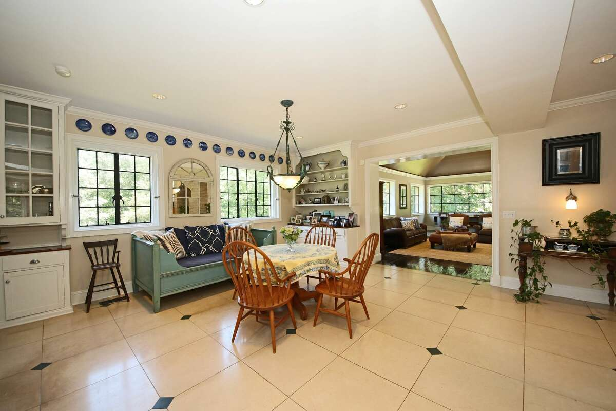 There is a dining area just off the kitchen in the estate.