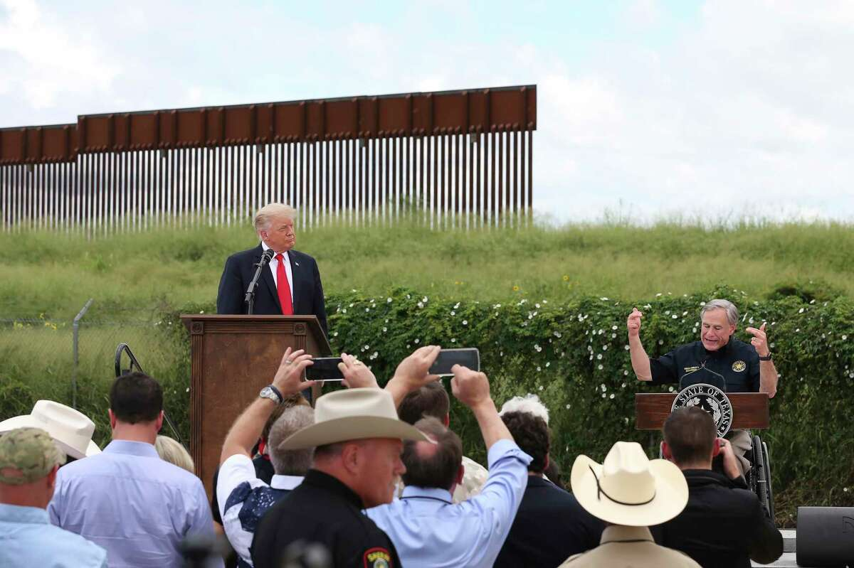 Texas Gov. Greg Abbott and former President Donald Trump hype the border wall. A reader doubts Abbott can build much.