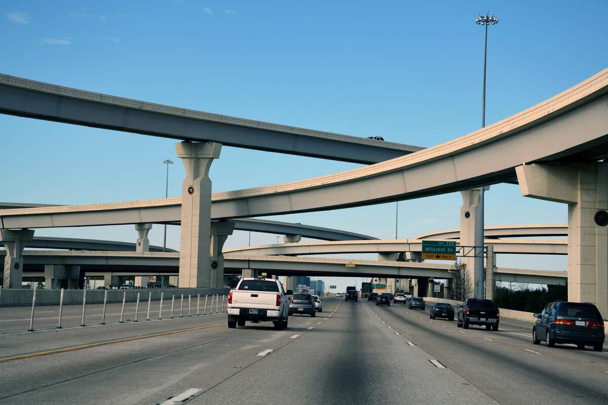 The Sam Houston Parkway intersects with just about every Houston highway, including here with the Katy Freeway.