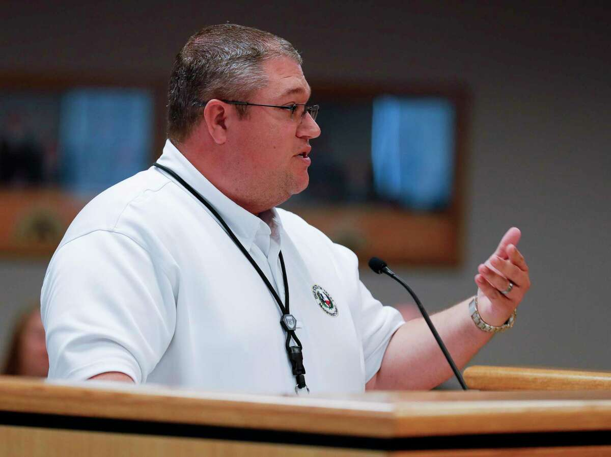 Jason Millsap, executive director of Montgomery County's Office of Homeland Security and Emergency Management asks for $9 million from the country for 130 hospital nurses during a Montgomery County Commissioners Court meeting at the Alan B. Sadler Commissioners Court Building, Tuesday, Aug. 10, 2021, in Conroe. Commissioners approved $9 million in spending from the county's allotted funds from the American Rescue Plan Act to help with the county's staff shortage amplified by the surge in the coronavirus Delta variant cases.