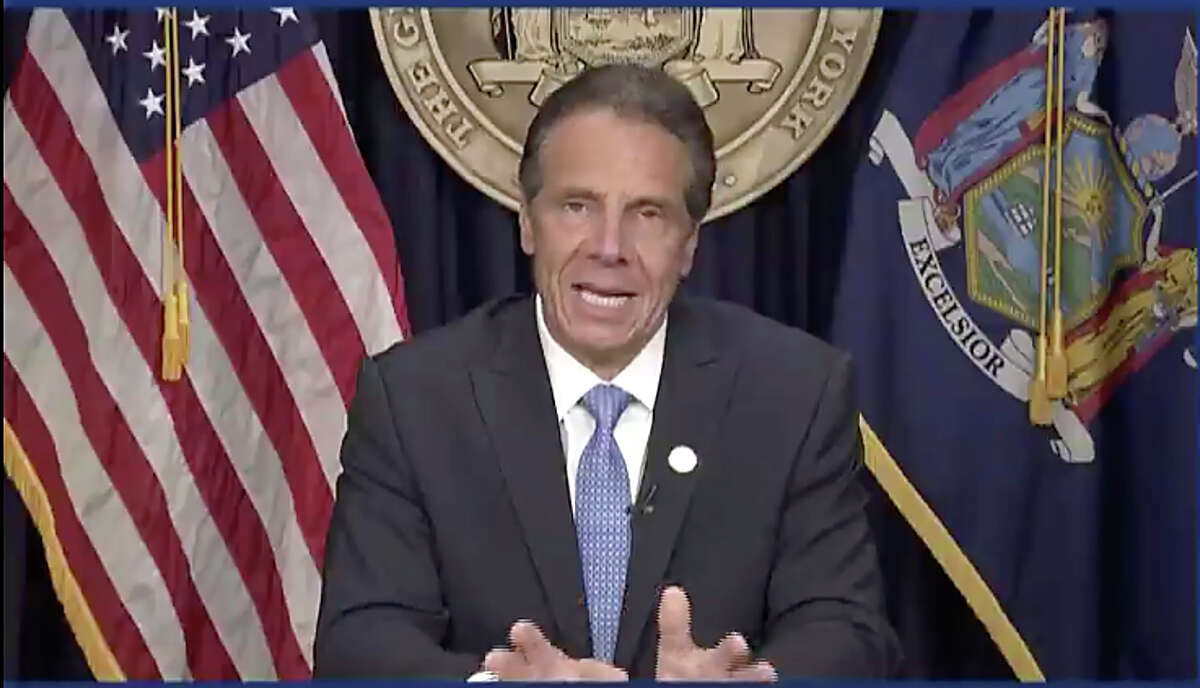 In this still image from video, Gov. Andrew Cuomo speaks during a news conference in Albany, N.Y. on Tuesday, Aug. 10, 2021. Cuomo has resigned over a barrage of sexual harassment allegations in a fall from grace a year after he was widely hailed nationally for his detailed daily briefings and leadership during the darkest days of COVID-19. (Office of the Governor of New York via AP)