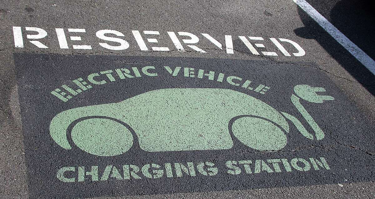 A spot reserved for electric vehicles is shown at Bruce Bennett Nissan in this photo taken in Wilton, Conn., on Wednesday, Sept. 14, 1016.