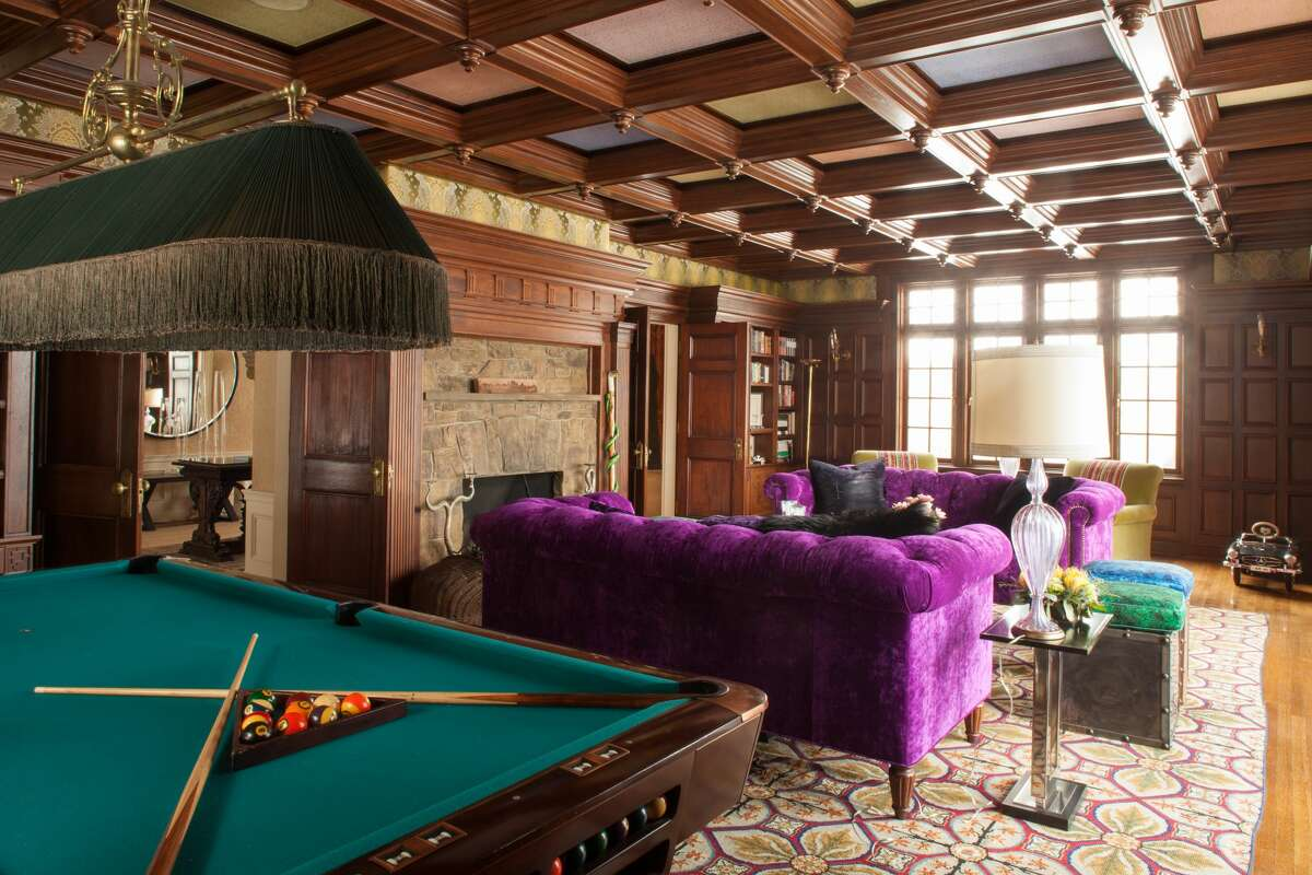 """The library and billiards room in """"Real Housewives of New York City"""" alum Dorinda Medley's Blue Stone Manor in Great Barrington, Mass."""