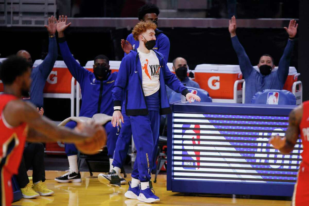 Golden State Warriors guard Nico Mannion (2) in the first quarter of an NBA game against the New Orleans Pelicans at Chase Center, Friday, May 14, 2021, in San Francisco, Calif.