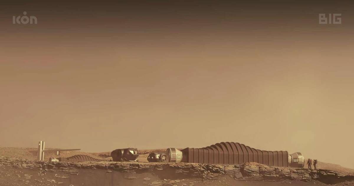 A rendering of the Mars Dune Alpha habitat being created by ICON, an Austin company that develops advanced construction technologies. This rendering is shown on Mars, but the structure is actually being built at NASA's Johnson Space Center in Houston. It will be used in a yearlong simulated Mars mission.