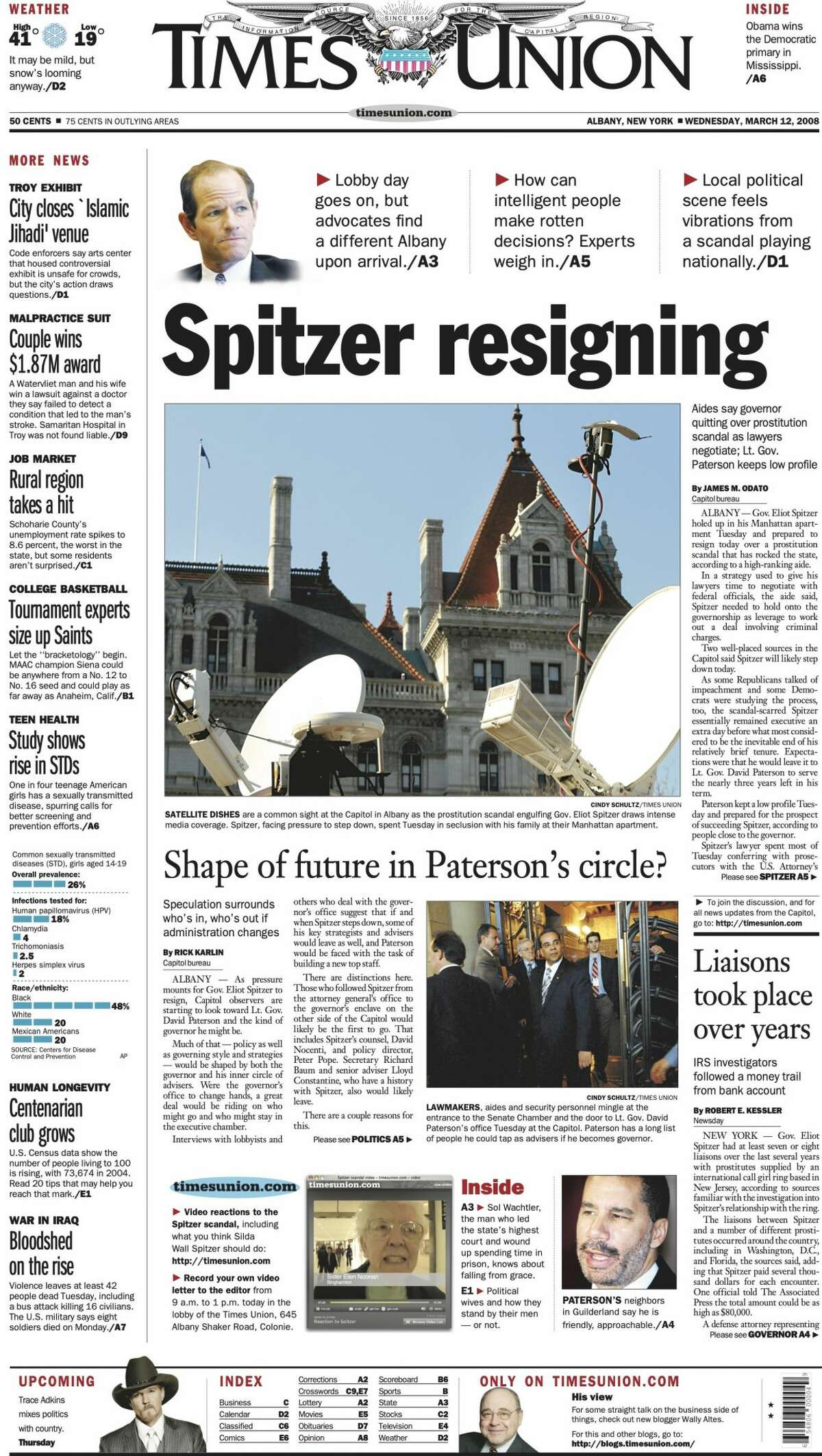 Front page of the Times Union on March 12, 2008, the day New York Gov. Eliot Spitzer announced his resignation in the wake of a sex scandal.