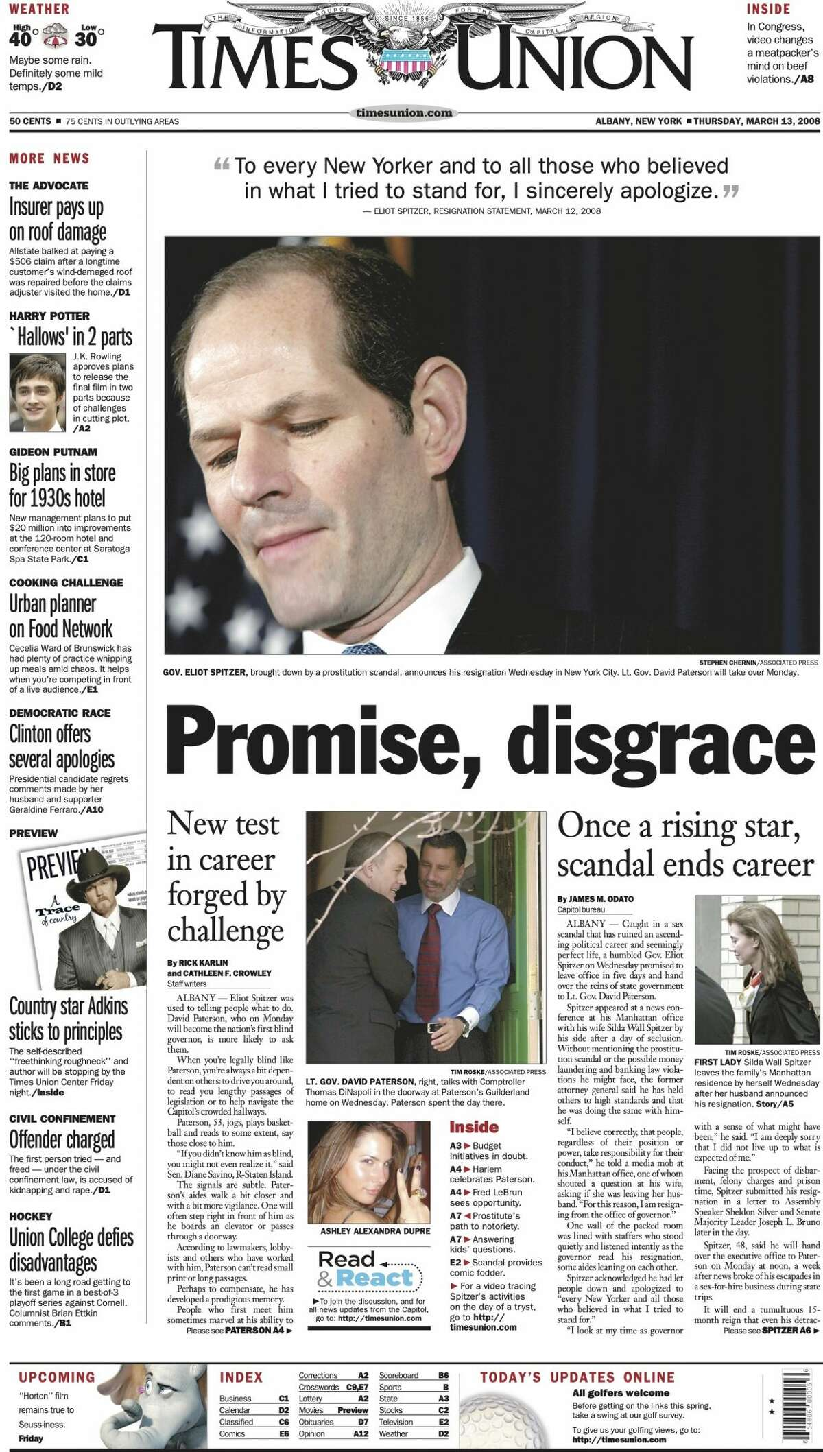Front page of the Times Union on March 13, 2008, the day after New York Gov. Eliot Spitzer announced his resignation in the wake of a sex scandal.