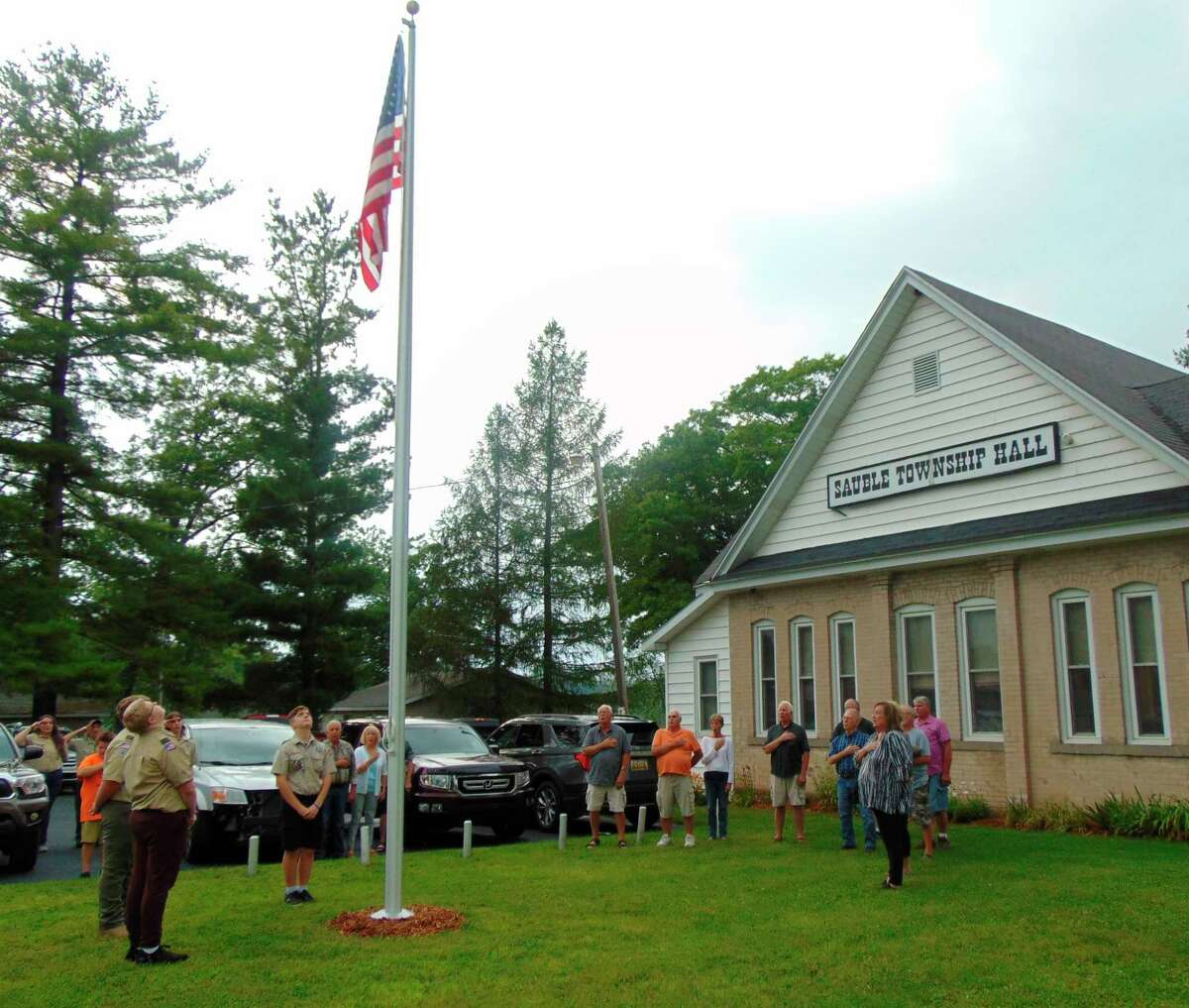 Those gathered joined in the Pledge of Allegiance after the flag was raised. (Star photo/Shanna Avery)