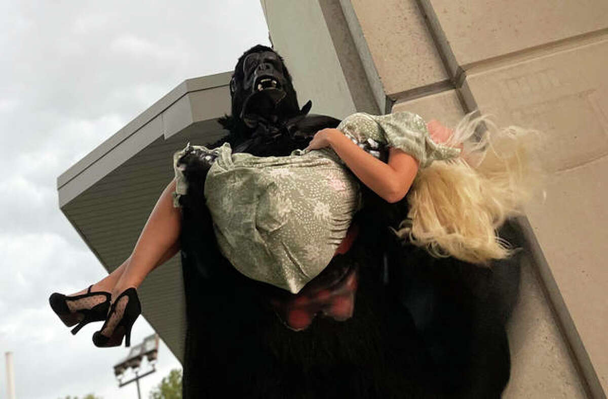 """Kevin Frakes is the fabled giant ape with Tiffani Bowen as the heroine in """"Kong's Night Out."""" The physical farce will be on stage Aug. 20-29 for eight performances at the Alton Little Theater Showplace, 2450 N. Henry St., Alton"""