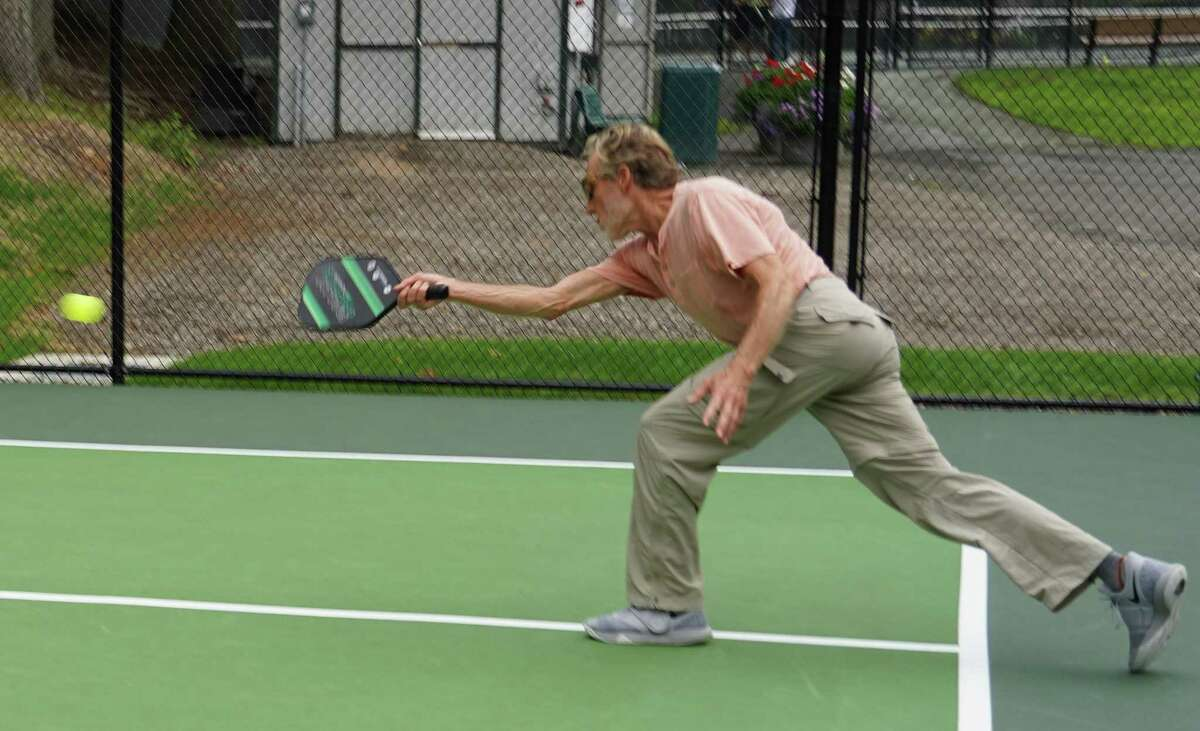 John Clausen was playing pickleball on the new courts in Mead Memorial Park in New Canaan on Aug. 10, 2021.