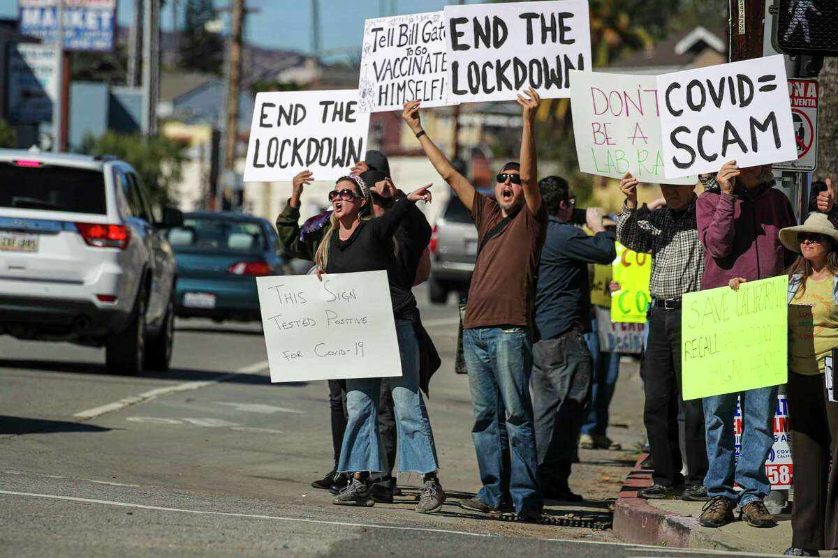 A protest organized by Shop Mask Free Los Angeles rally against the COVID-19 vaccine, masks and lockdowns, at Dodger Stadium in Los Angeles on Saturday, Jan. 30, 2021. (Irfan Khan/Los Angeles Times/TNS)