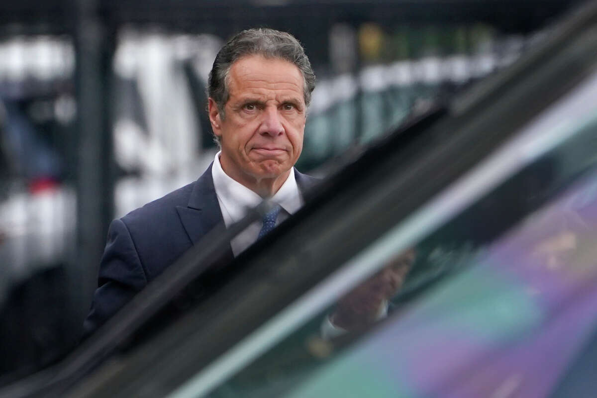 New York Gov. Andrew Cuomo prepares to board a helicopter after announcing his resignation, Tuesday, Aug. 10, 2021, in New York.