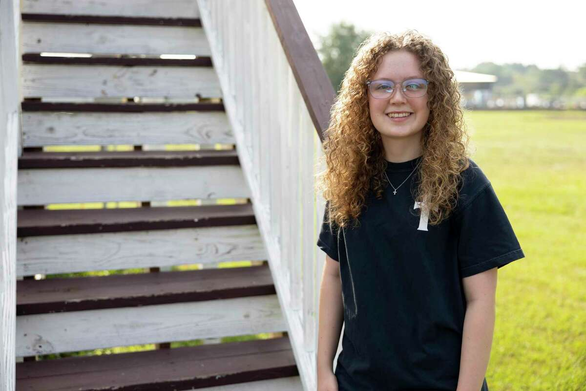 Karley Stacey, 16, the creator of The Contrast Worship Night, poses for a portrait at First Montgomery Baptist Church, Friday, Aug. 6, 2021, in Montgomery. The homeschooled teen created the event in order to bring other youth groups from neighboring churches together for a night of worship.