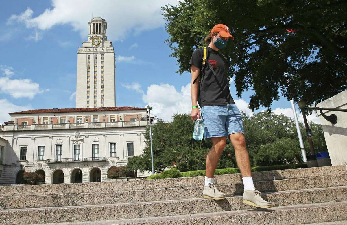 University of Texas students walk on campus to and from classes on Sept. 14, 2020.