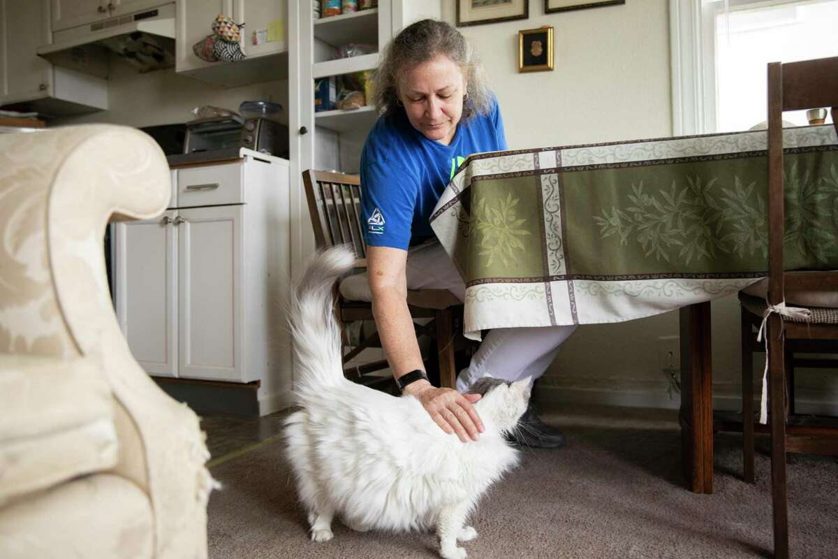 Mary Robinson greets her cat Nyla while eating lunch at her home in Oakland. Robinson is among millions of unemployed Californians who will see their weekly benefits slashed by $300 after Sept. 4.