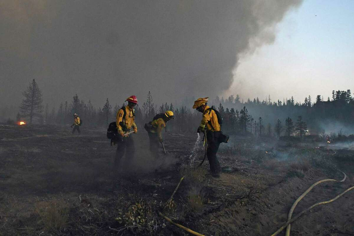Firefighters with Cal Fire Protection work to extinguish hot spots after the Lava Fire burned through an area alongside U.S. Highway 97 northeast of Weed on June 28