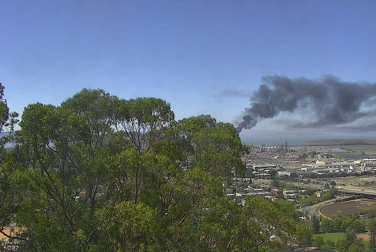 Smoke rose from a flaring incident at the Richmond Chevron refinery on August 10, 2021.