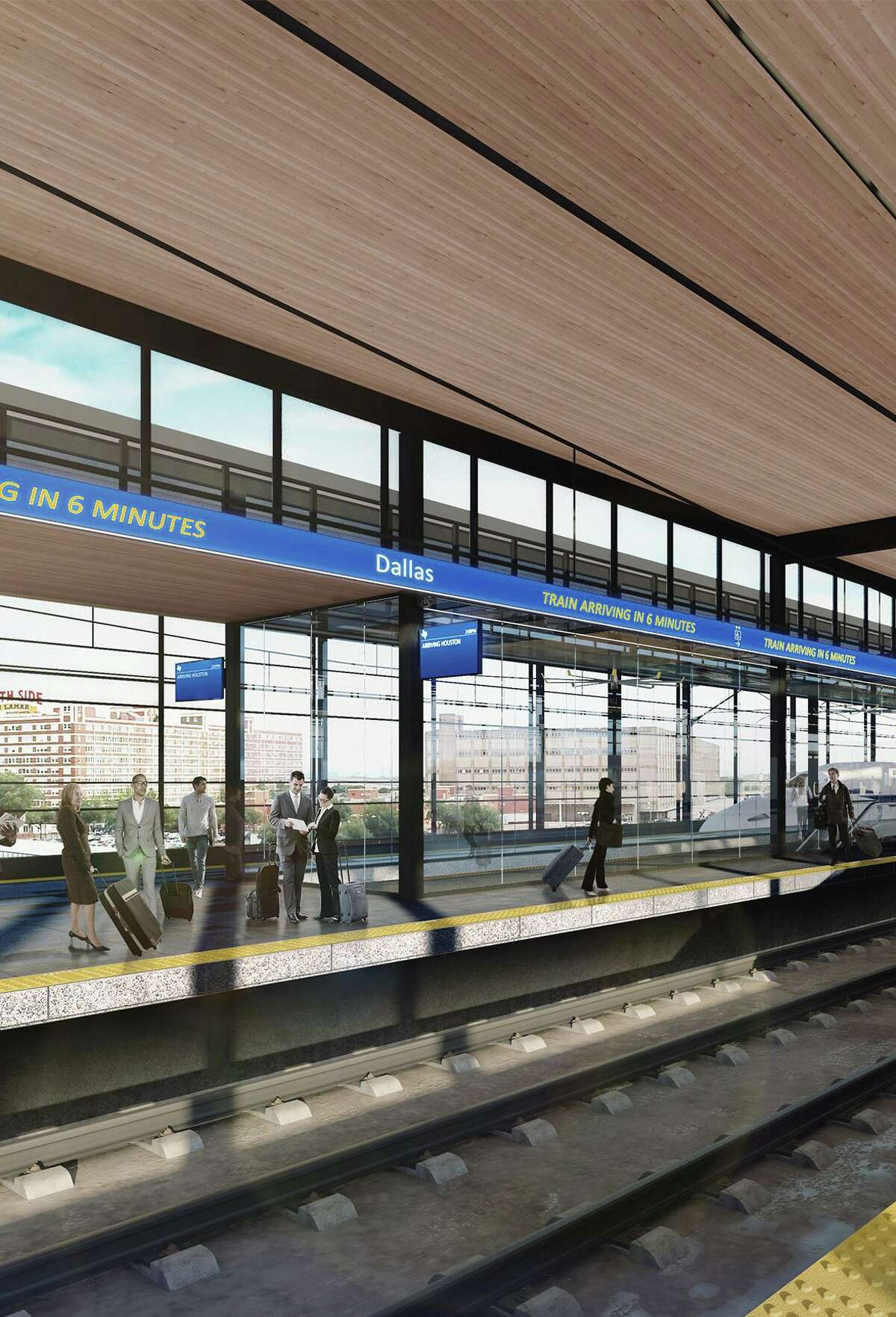 An artist's rendering of proposed high-speed rail platform in Dallas. (Courtesy Texas Central/TNS)