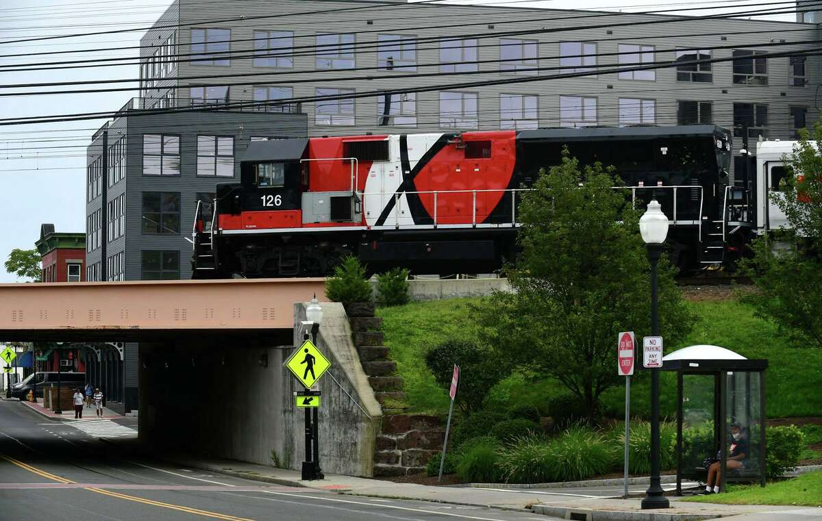 The South Norwalk train station and the surrounding area including Monroe Street Tuesday, August 10, 2021, in Norwalk, Conn. The Redevelopment Agency is asking the public for input on the attractiveness and look of the area.