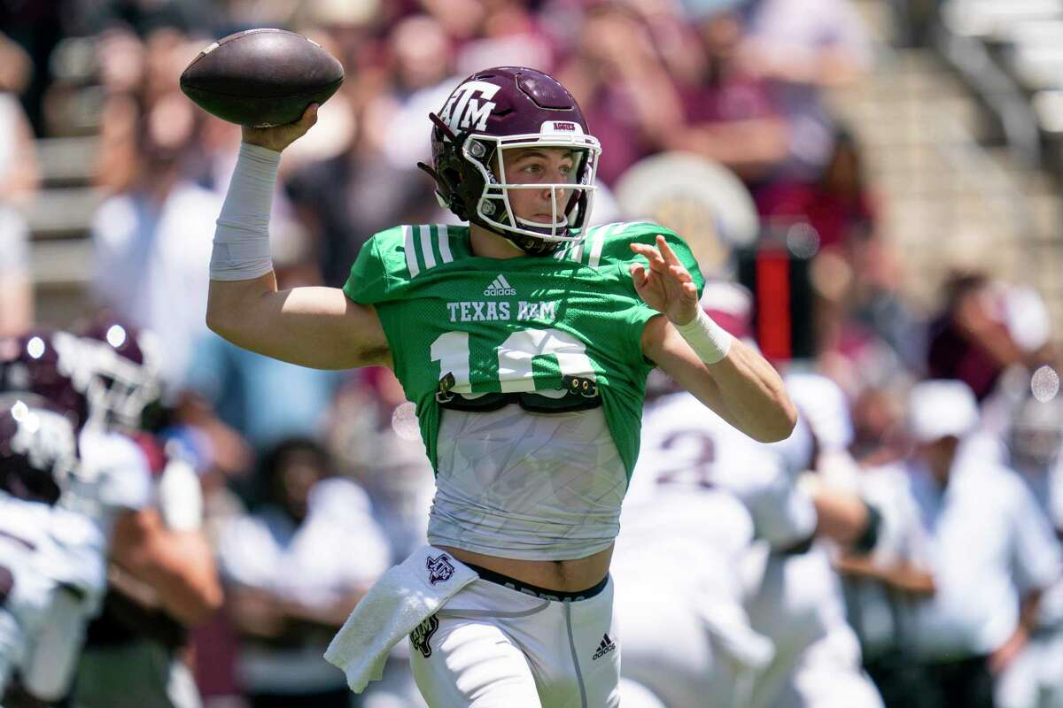 Texas A&M quarterback Zach Calzada (10) passes down field during the Texas A&M Maroon and White Spring game in College Station, Texas on Saturday, April 24, 2021.