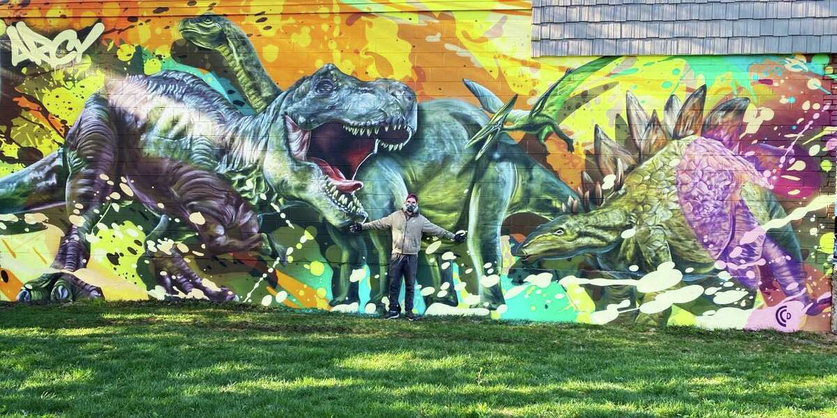 The Cromwell Creative District and local business Cromwell Energy recently partnered on a dinosaur mural project downtown painted by Wallingford artist Arcy, who enjoys national and international acclaim.