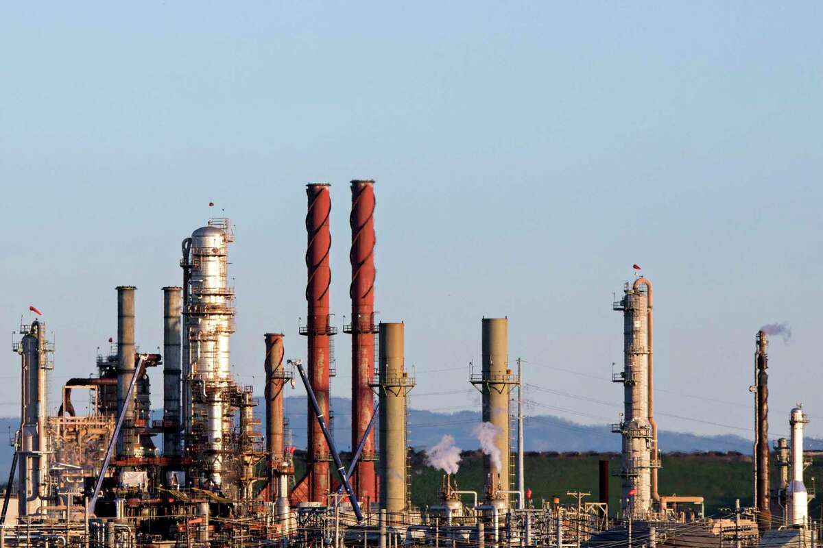 This file photograph shows the Chevron Richmond Refinery is seen in Richmond, Calif. Tuesday, February 4, 2020.