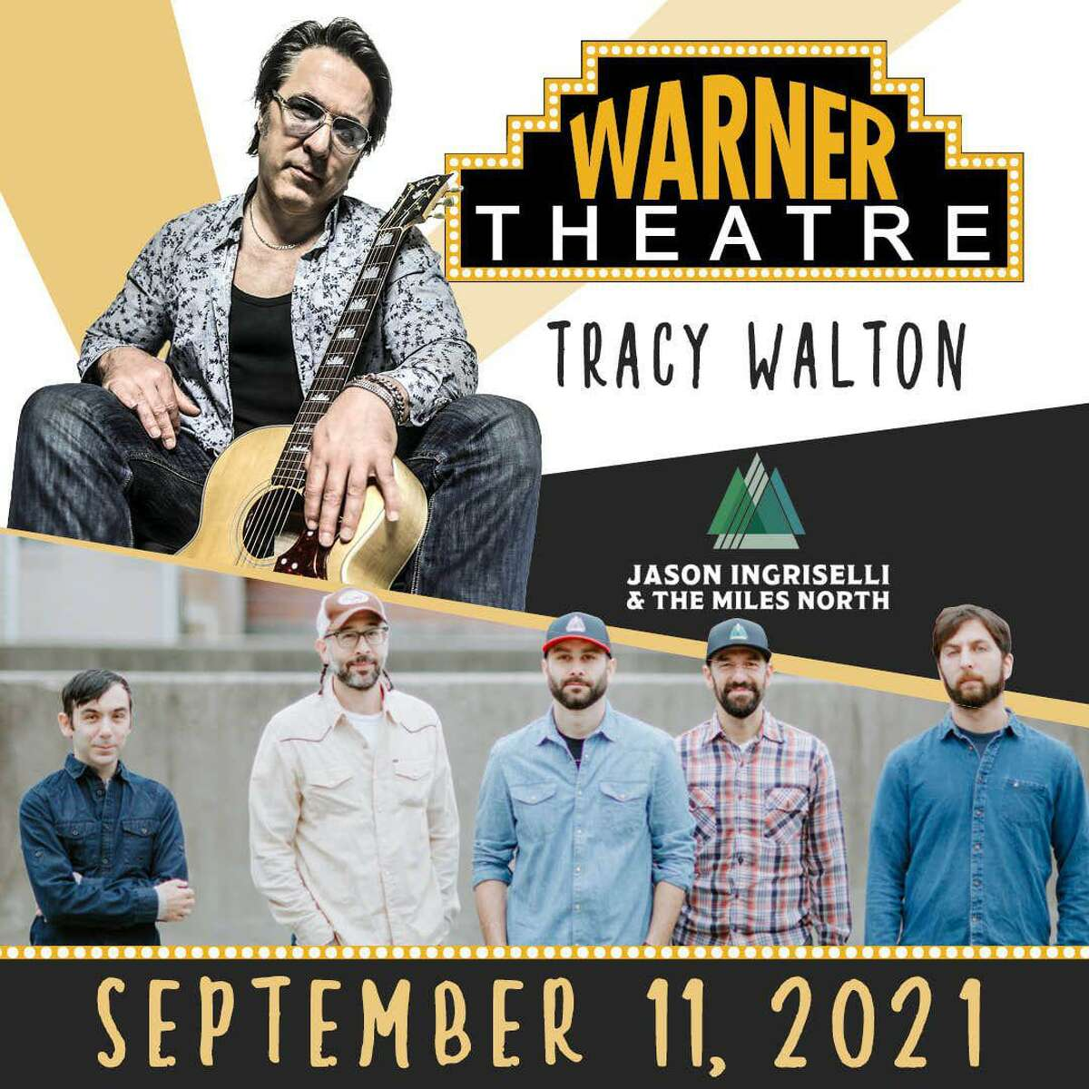 Tracy Walton and Jason Ingriselli & The Miles North Band are performing in a live show at the Warner Theatre, Torrington, Sept. 11, 2021.