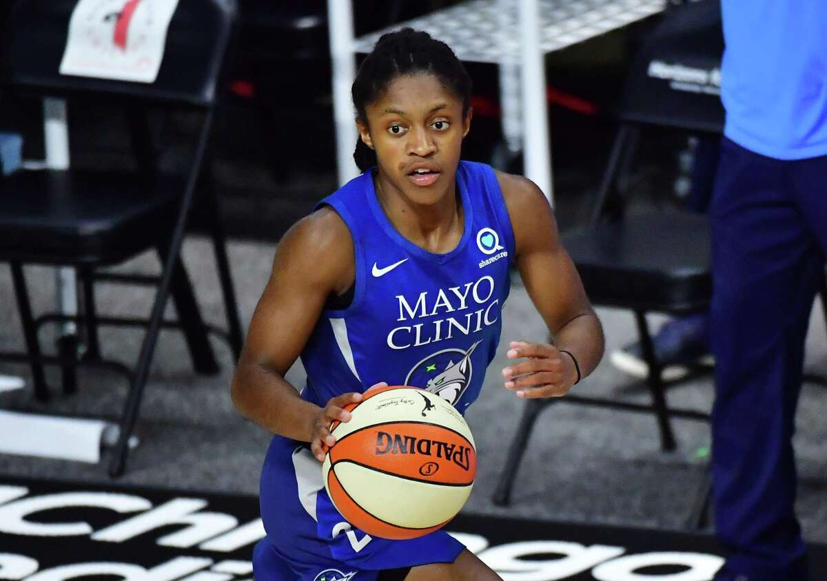Crystal Dangerfield #2 of the Minnesota Lynx dribbles during the first half of a game against the Chicago Sky at Feld Entertainment Center on September 02, 2020 in Palmetto, Florida