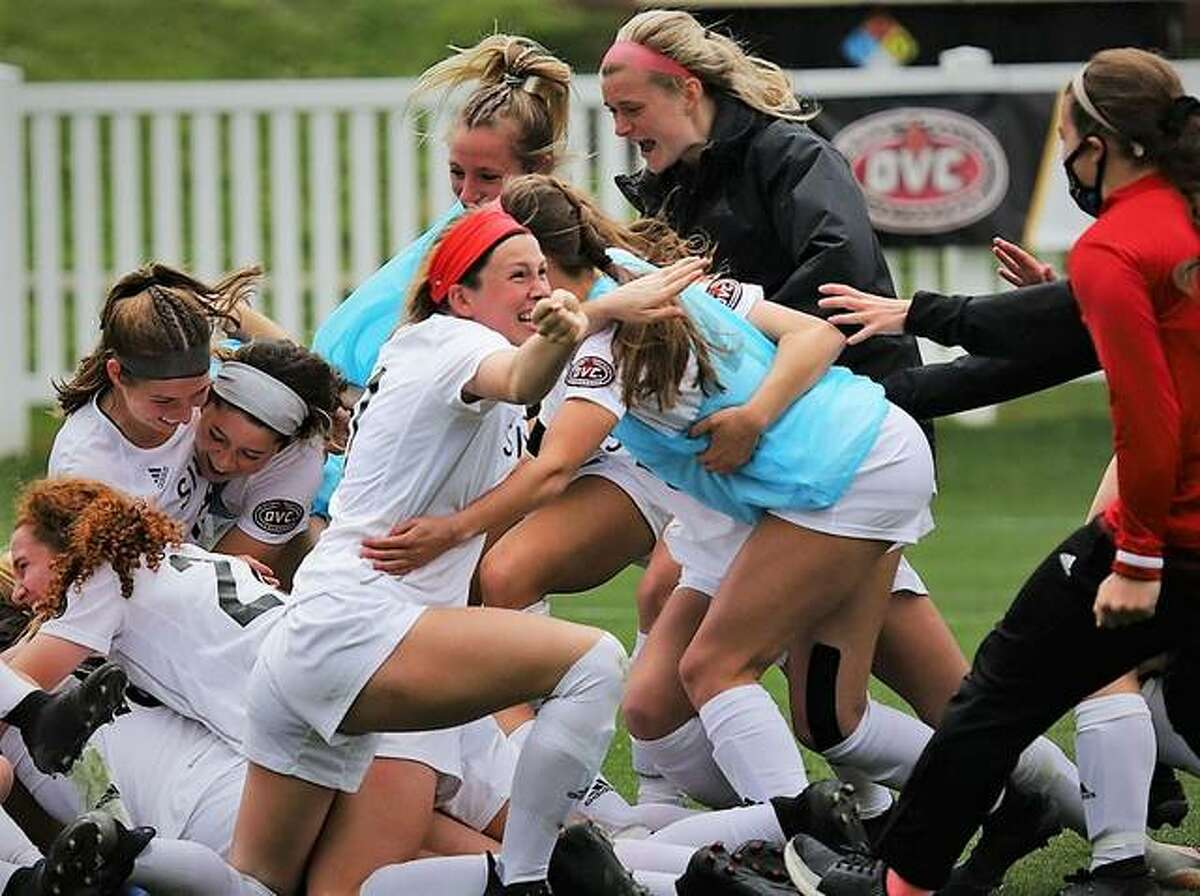 Members of the SIUE women's soccer team celebrate their Ohio Valley Tournament championship win over Southeast Missouri State last April. SIUE went on to the Division I National tournament and bowed out after a 3-1 loss to No. 13 Virginia. SIUE is in the midst of preseason training for the fall 2021 season and will play host to Illinois State in a preseason game at 5 p.m. Wednesday at Korte Stadium.