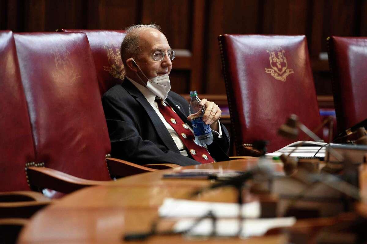 State Senate President Pro Tempore Martin Looney inside the near-empty Senate chamber, in a 2020 file photo.