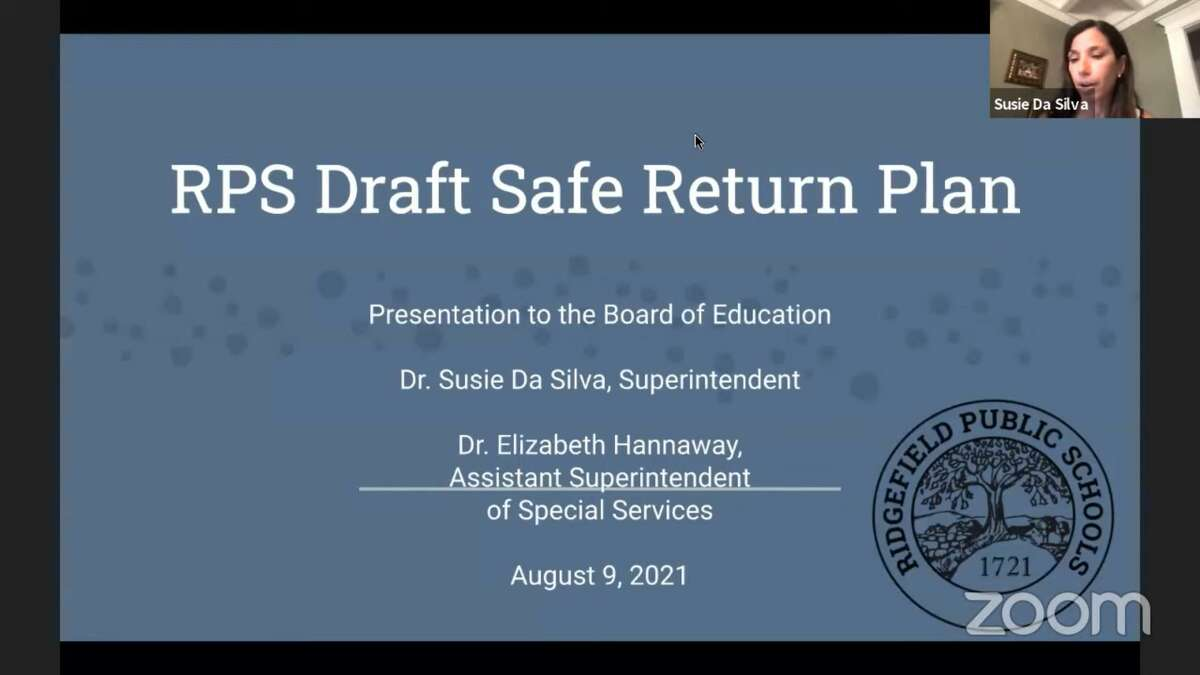 An updated version of the district's safe return plan was shared with Board of Education members Tuesday night, but some strategies remain in flux as officials await further guidance from the state and keep an eye on local COVID numbers. Superintendent Susie Da Silva, top right, introduced the presentation.