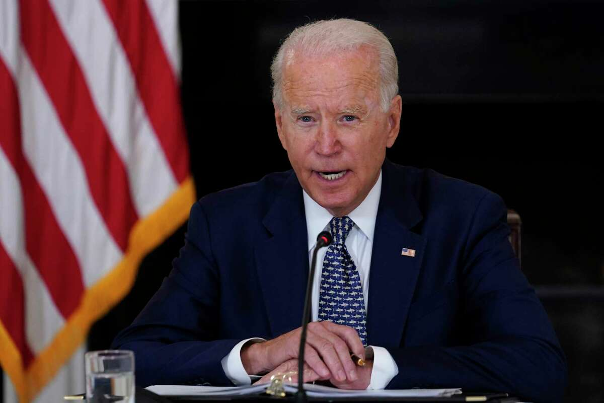 President Joe Biden speaks as he receives a briefing in the State Dining Room of the White House in Washington, Tuesday, Aug. 10, 2021, on how the COVID-19 pandemic is impacting hurricane preparedness.