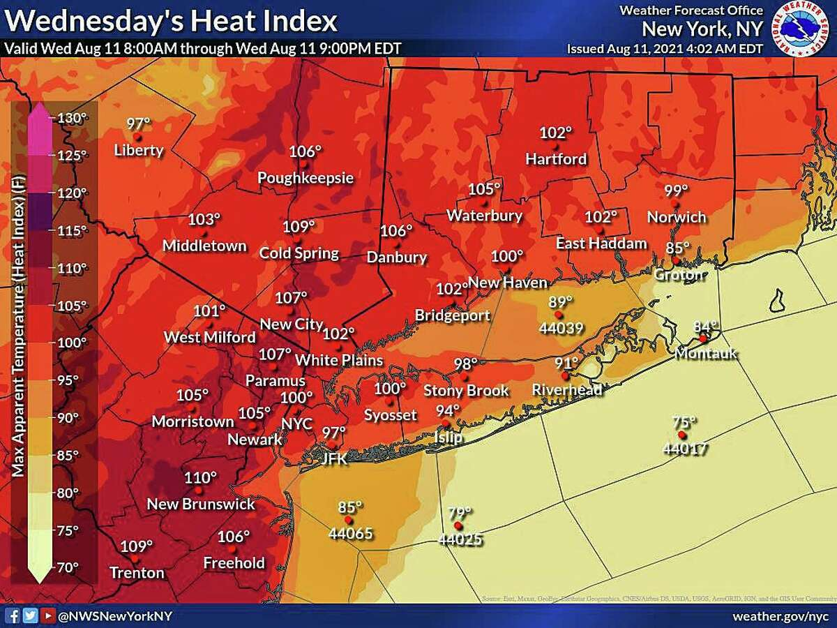 Heat index values in Connecticut will reach a high around 106 degrees on Wednesday, Aug. 11, 2021. A cold front will move in to the area on Saturday, bringing cooler and drier conditions to the area, according to current forecasts.