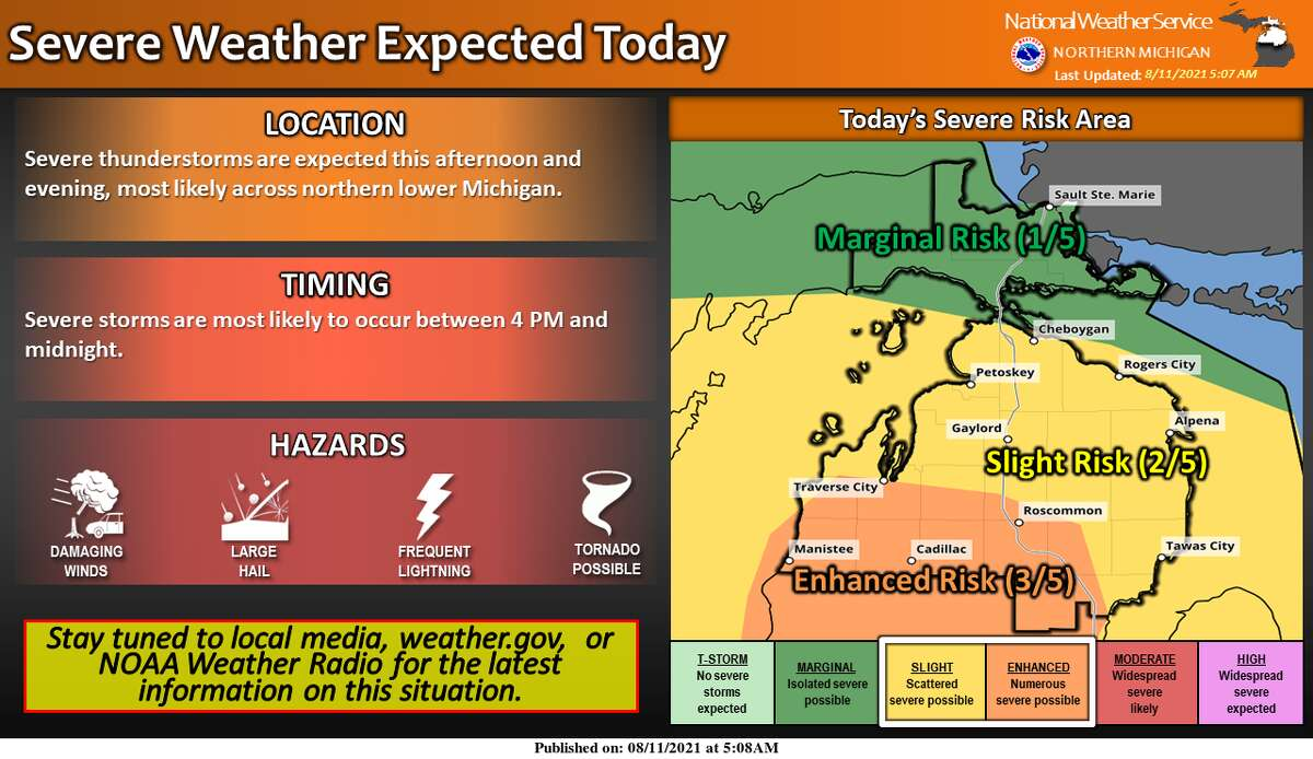 According to the National Weather Service, Manistee and Benzie counties are expected to be in the enhanced risk area for the forecasted storms on Wednesday evening.