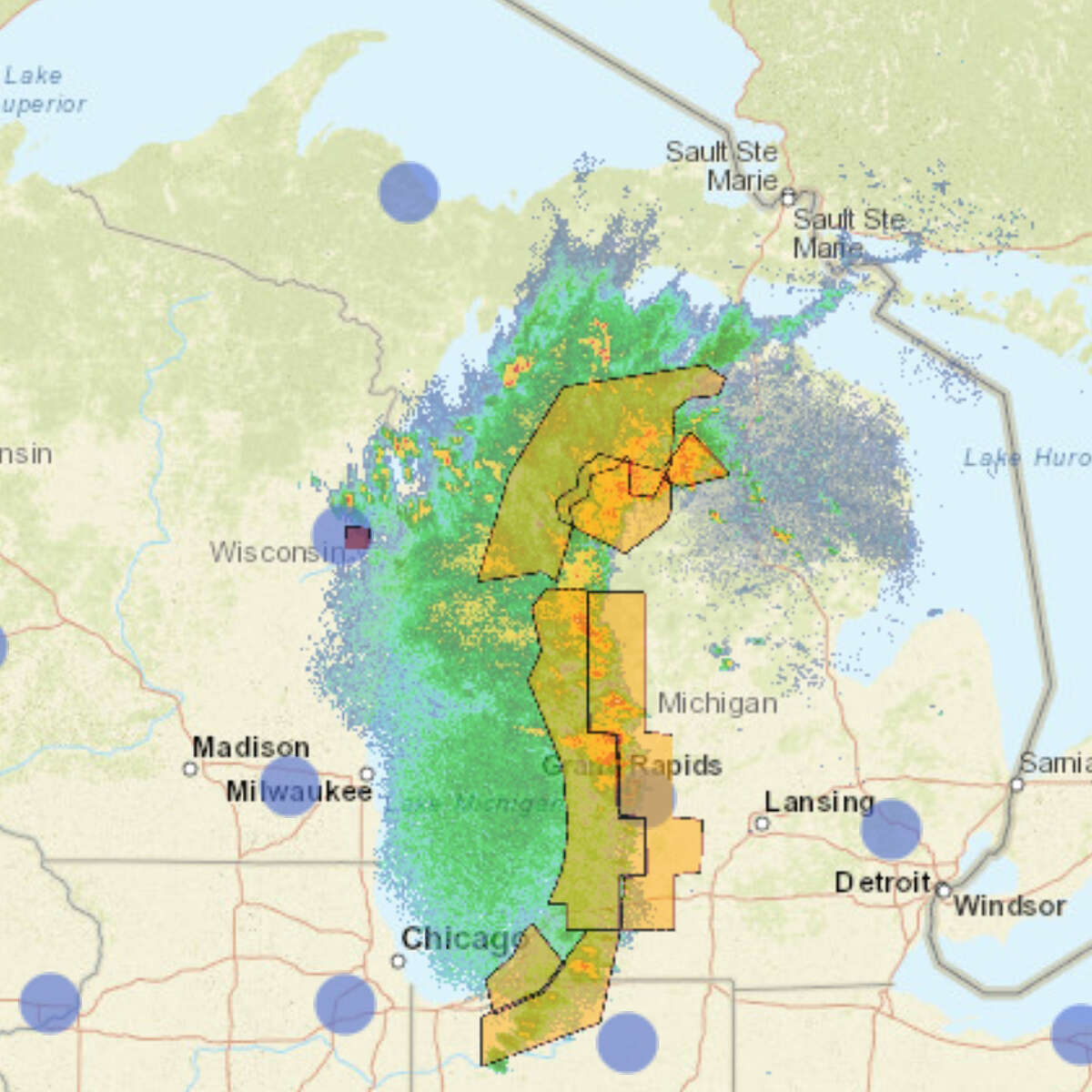 This National Weather Service radar screenshot was taken at 10:39 p.m. on Tuesday while a storm was moving through the Lower Peninsula's west coast.