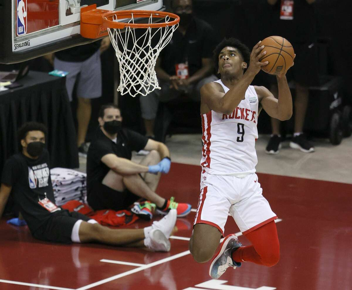 Josh Christopher #9 of the Houston Rockets goes up for a dunk against of the Detroit Pistons during the 2021 NBA Summer League at the Thomas & Mack Center on August 10, 2021 in Las Vegas, Nevada. The Rockets defeated the Pistons 111-91.
