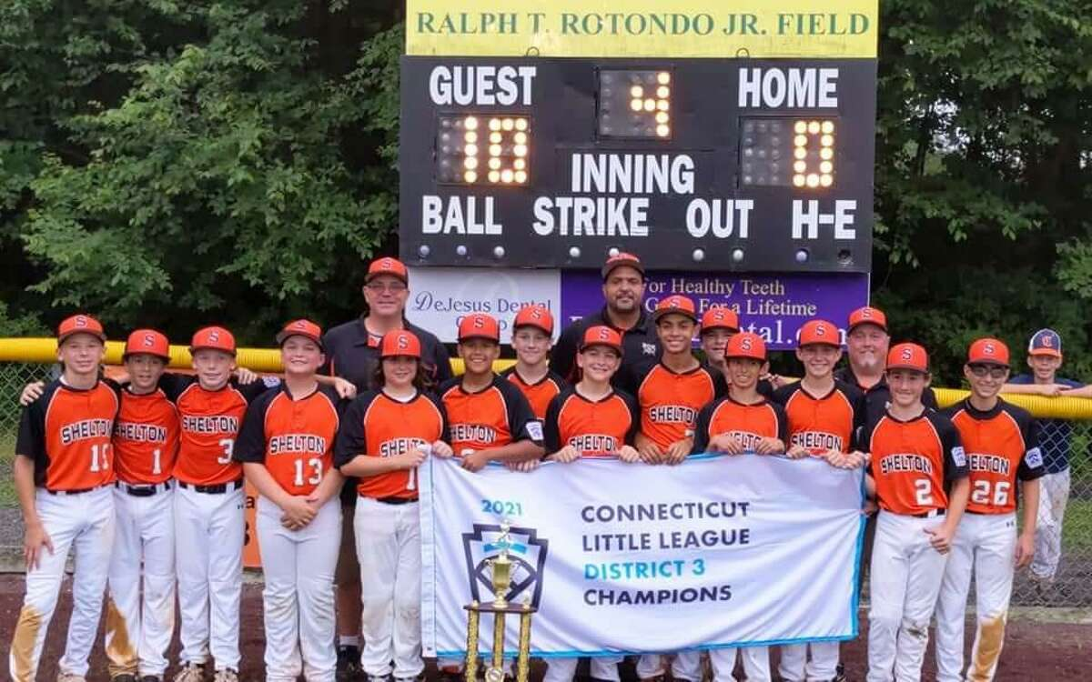 The Shelton Little League 12s were District 3 champions and runner-up in Section 2. Team members (front row) are Harrison Souza, Zach Bohm, Sean Cleary, Ascher Moccaie, Zach Burlone, Jackson Hyner, Gavin Rovinelli, Will Widomski, H.T. Jones, Cole St. Pierre, Terry Dunn, Jake Rios, Derek Larkins, and Jake Failla; (second row) coach Bob Burlone, coach Harry Jones and manager John Larkins.
