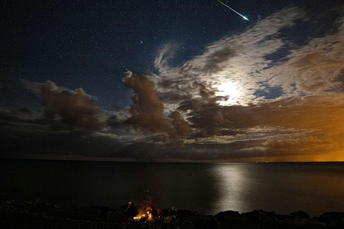 A Perseid meteor streaks across the sky over Yakakent district of Samsun, Turkey on August 14, 2020.